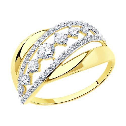 Кольцо из желтого золота с фианитами (017023-2) - фото