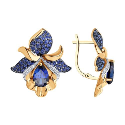 Серьги из золота с синими корундами (синт.) и бесцветными, голубыми и синими фианитами подвеска из комбинированного золота с бесцветными и синими фианитами