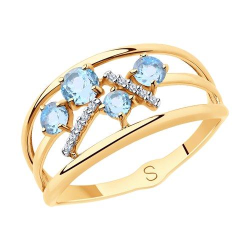 Кольцо из золота с топазами и фианитами (715713) - фото