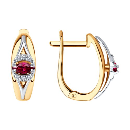 Серьги из комбинированного золота с бриллиантами и рубинами (4020359) - фото