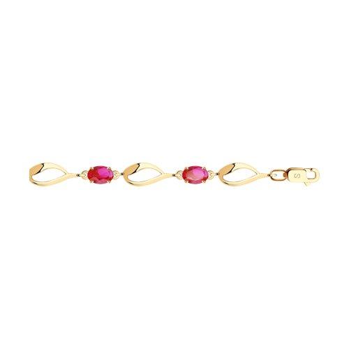Браслет из золота с красными корунд (синт.) (750344) - фото