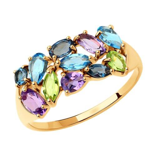 Кольцо из золота с полудрагоценными вставками (714682) - фото