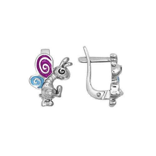 цена на Детские серьги «Танцующая бабочка» из серебра с голубой и сиреневой эмалью