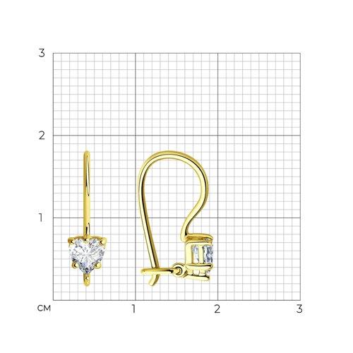 Серьги из желтого золота с фианитами (021929-2) - фото №2