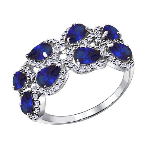 Кольцо из серебра с синими корунд (синт.) и фианитами (88010051) - фото