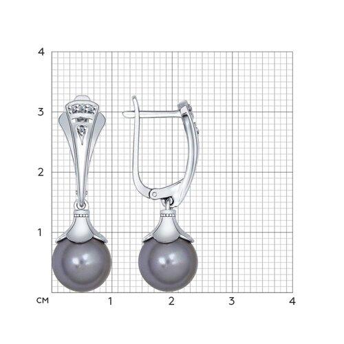 Серьги из серебра с чёрными жемчужинами Swarovski и фианитами (94022084) - фото №2
