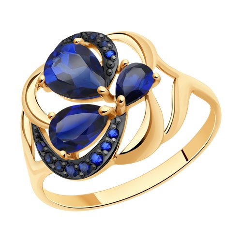 Кольцо из золота с синими корунд (синт.) и синими фианитами