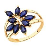 Кольцо из золота с синими корунд (синт.)