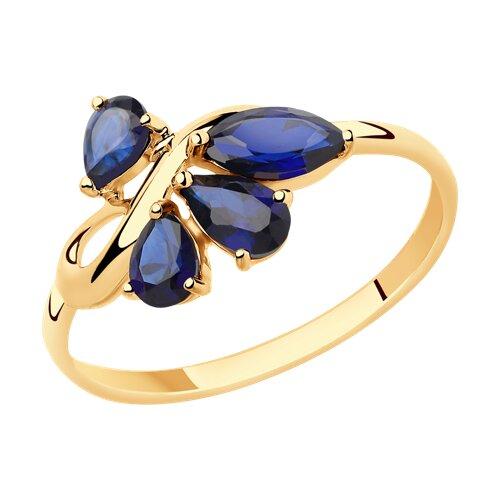 Кольцо из золота с синими корундами (715432) - фото
