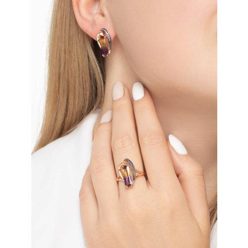 Кольцо из золота с ситаллом аметрин и фианитами (715694) - фото №3