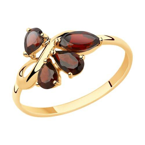 Кольцо из золота с гранатами (715431) - фото