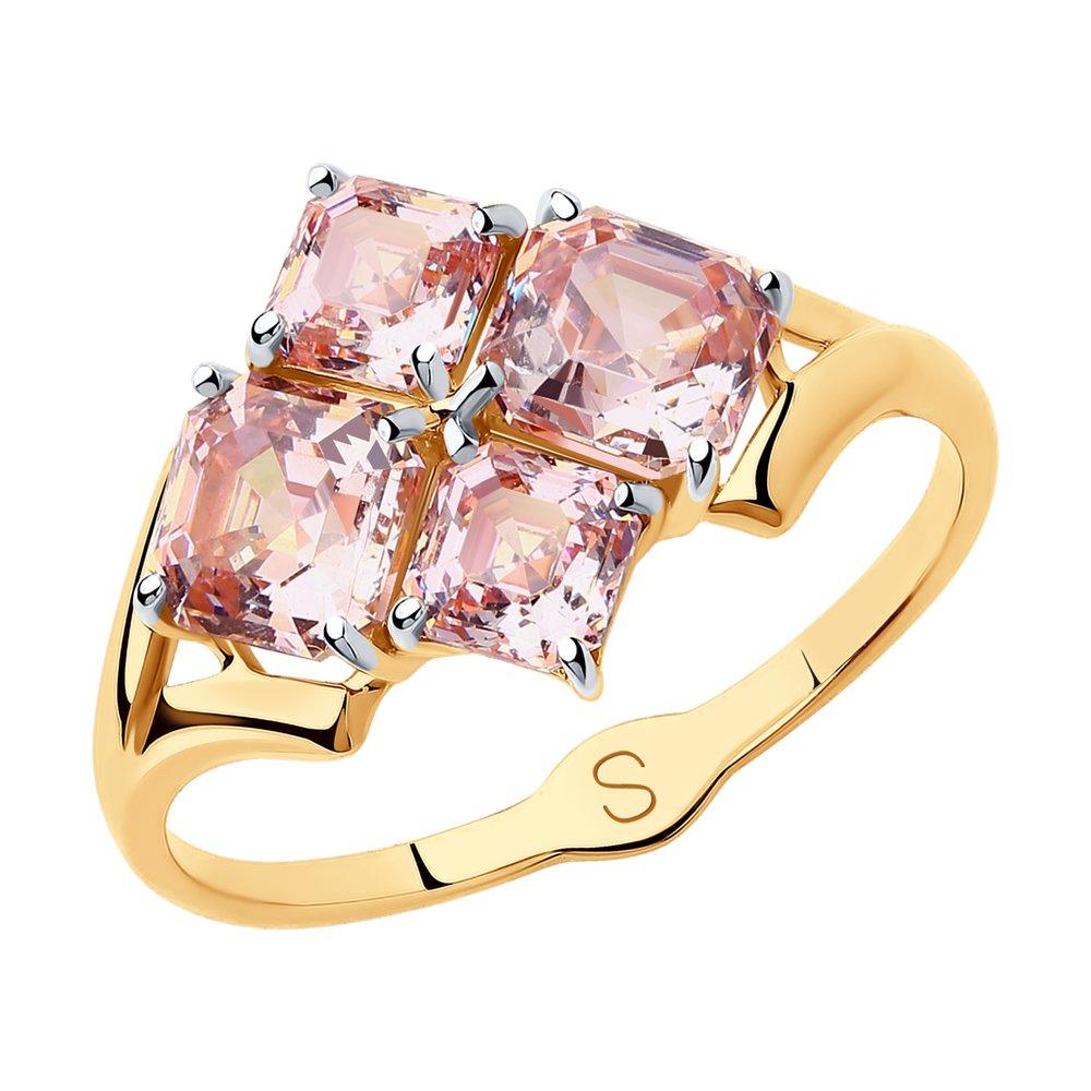 Кольцо SOKOLOV из золота с розовыми Swarovski Zirconia фото