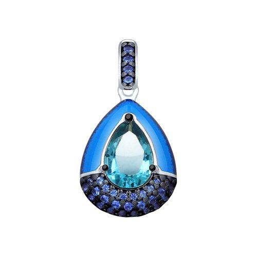 Подвеска из серебра с эмалью и синим ситаллом и фианитами (92030531) - фото