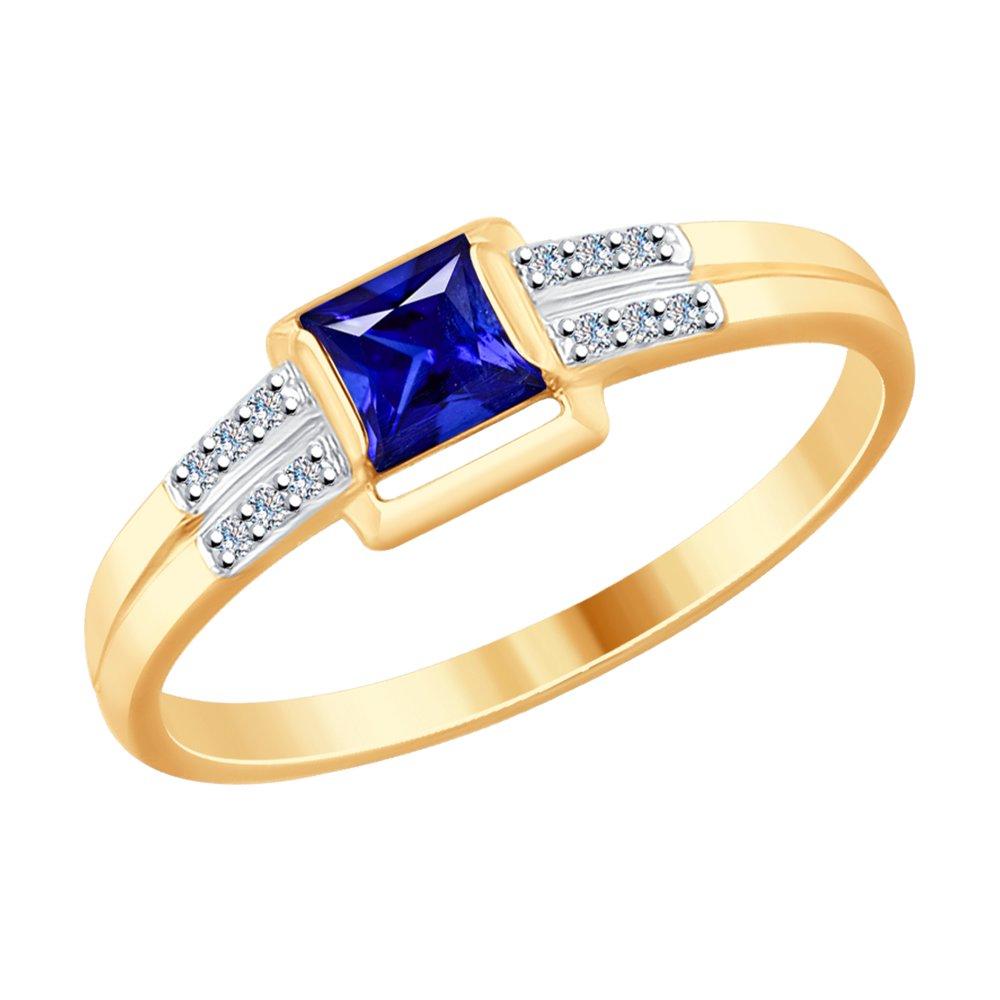 Кольцо SOKOLOV из золота с бриллиантами и синим корундом (синт.) фото