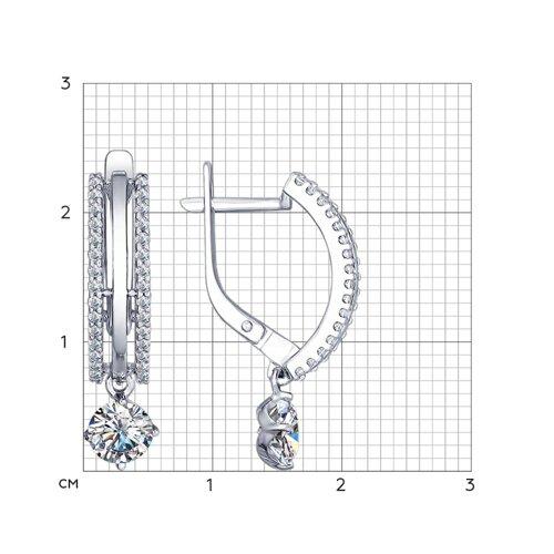 Серьги из серебра с фианитами (94022403) - фото №2