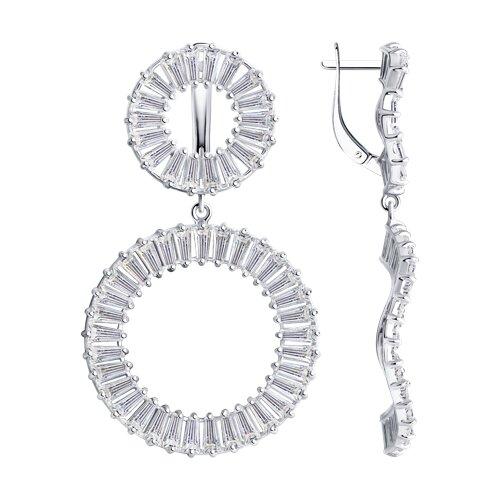 Серьги из серебра с фианитами (94023930) - фото