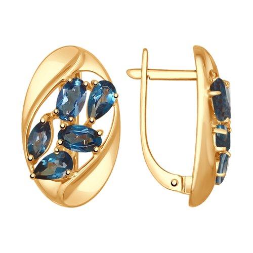 Серьги из золота с синими топазами (37725006) - фото