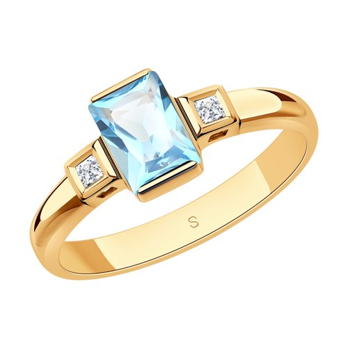 Кольцо из золота с топазом и Сваровски