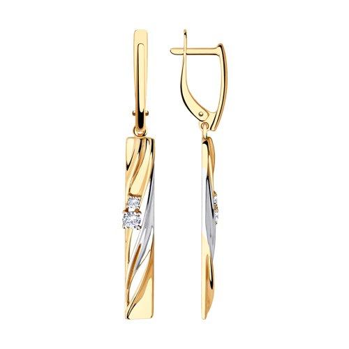 Серьги из золота с фианитами (028526) - фото