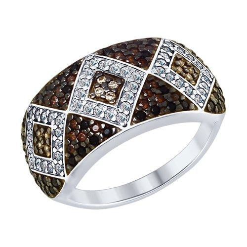 Кольцо из серебра с бесцветными, жёлтыми, коричневыми и чёрными фианитами (94012585) - фото