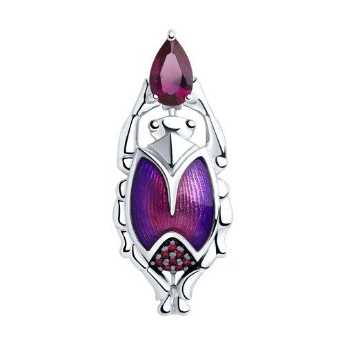 Брошь из серебра с эмалью и фианитами (94040163) - фото