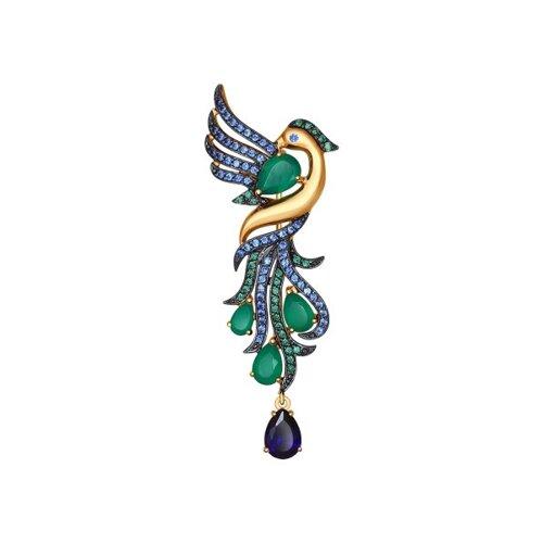 Золотая брошь «Пава» с миксом камней