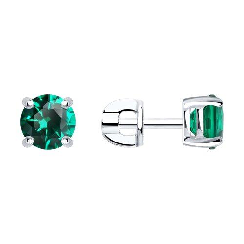 Серебряные пусеты с зелёным фианитом (94020531) - фото