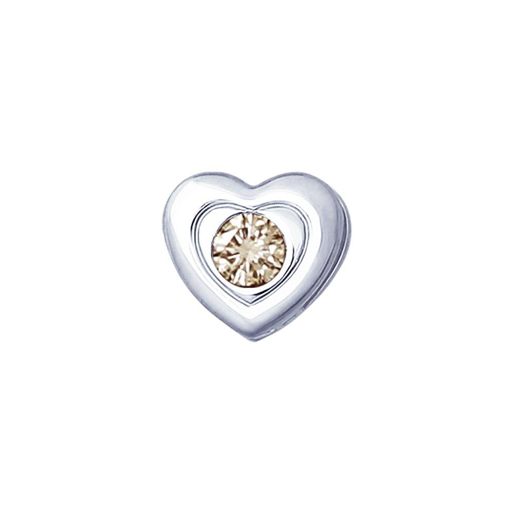 Серебряная подвеска «Сердце» с коньячным бриллиантом SOKOLOV