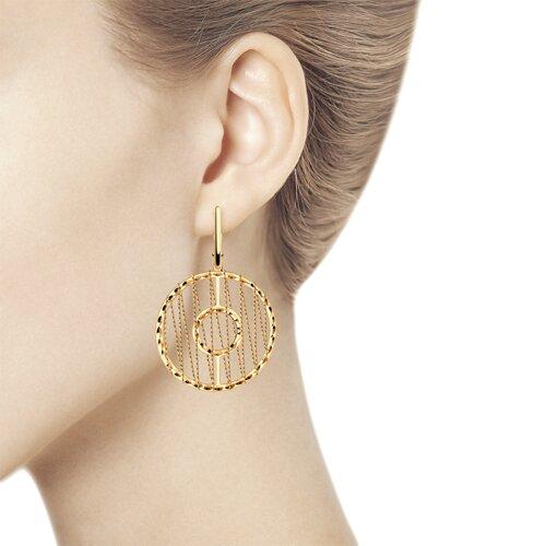 Серьги из золота с алмазной гранью (028708) - фото №3