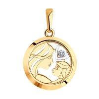 Подвеска из золота со Swarovski Zirconia и минеральным стеклом