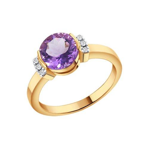 Кольцо SOKOLOV из золота c крупным круглым аметистом и фианитами по бокам главного камня кольцо с крупным аметистом