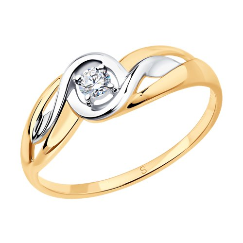 Кольцо из золота с фианитом (017899) - фото