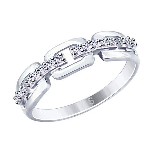 Кольцо из серебра с фианитами (94012656) - фото