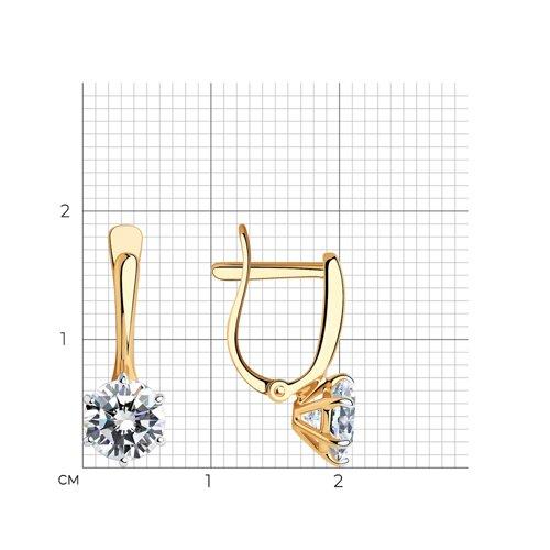 Серьги из золота с фианитами (026703) - фото №2