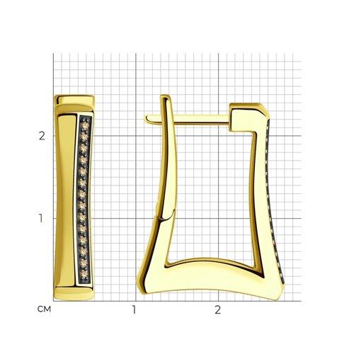 Серьги из желтого золота с бриллиантами 1021640 SOKOLOV фото 2