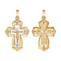 Крест из золота с бриллиантами и перламутром