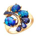 Кольцо из золота с синими корундами (синт.), опалами и фианитами