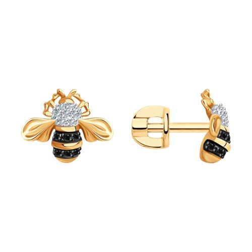 Серьги из золота с бриллиантами и черными облагороженными бриллиантами