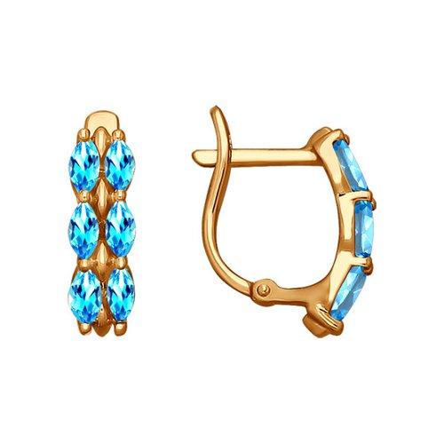 Золотые серьги с голубыми фианитами SOKOLOV