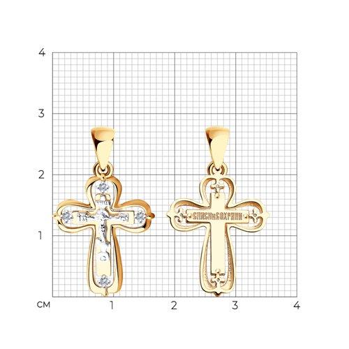 Подвеска- крест из комбинированного золота с бриллиантами 1120101 SOKOLOV фото 2