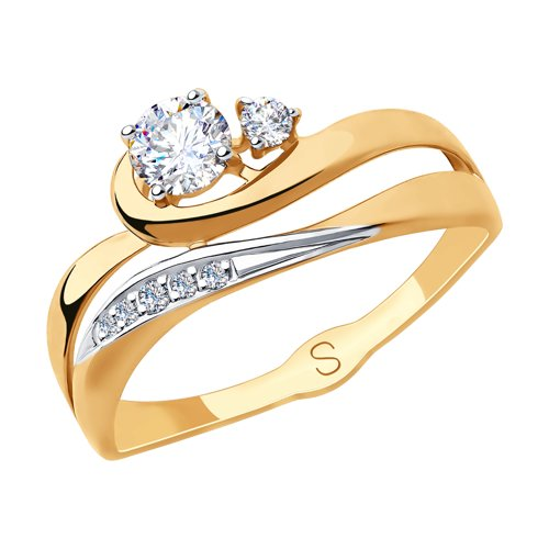 Кольцо из золота с фианитами (018285) - фото
