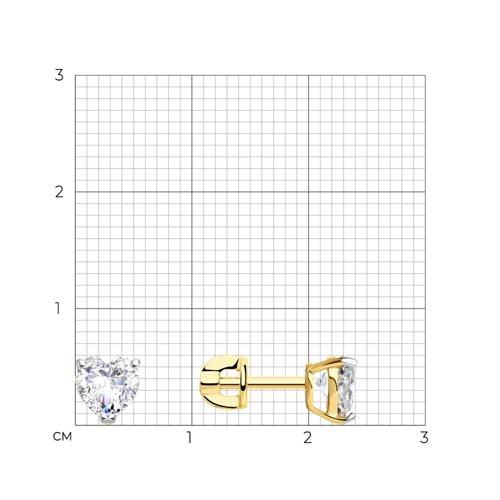 Серьги из желтого золота с фианитами (026924-2) - фото №2