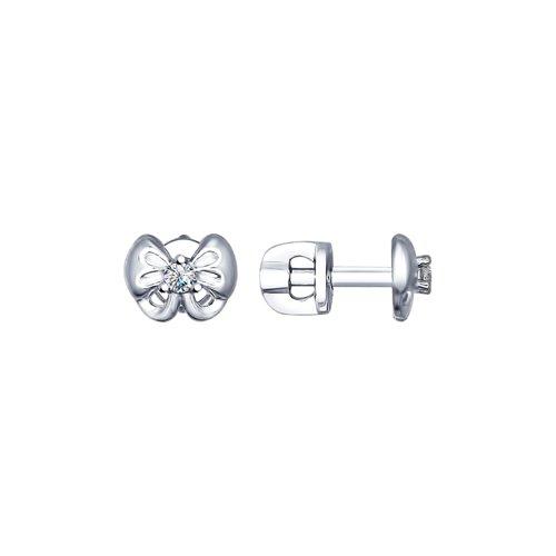 Серьги-пусеты из серебра с фианитами (94022492) - фото