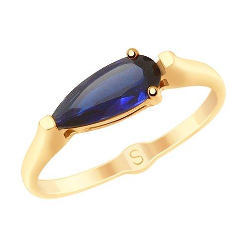 Кольцо из золота с синим корундом (синт.) (715255) - фото