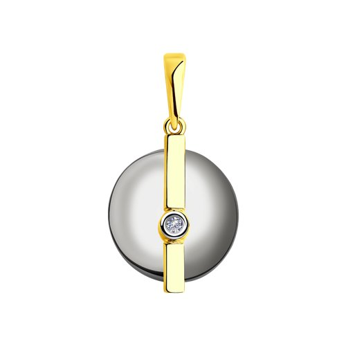 Подвеска из желтого золота с бриллиантом и керамической вставкой