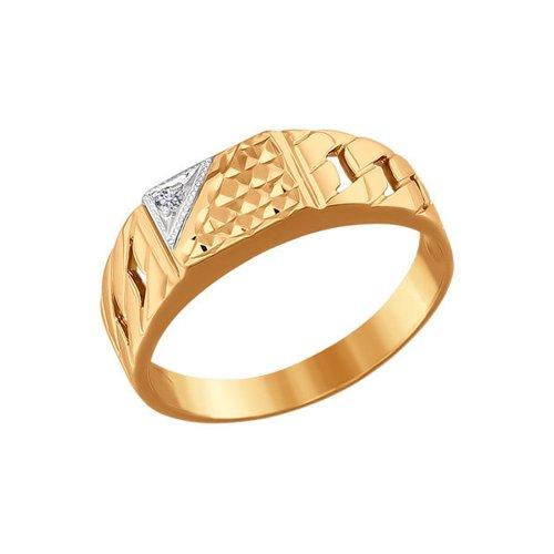 Печатка из золота с алмазной гранью с фианитом