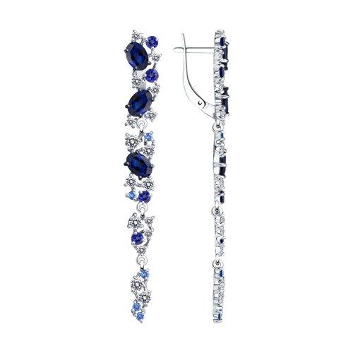 Серьги длинные из серебра с бесцветными и синими фианитами