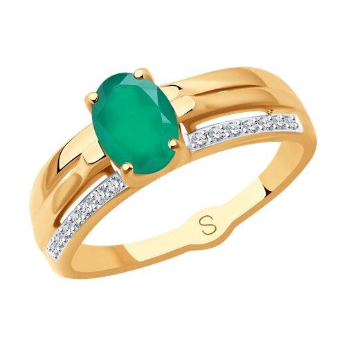 Кольцо из золота с агатом и фианитами (715236) - фото