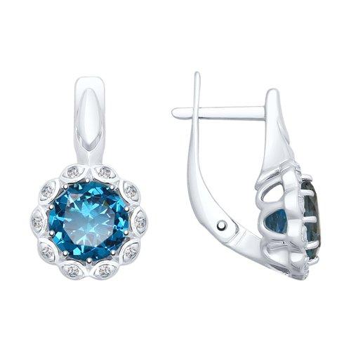 Серьги из серебра с синими топазами и фианитами (92021733) - фото