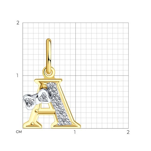 Подвеска из желтого золота с фианитами (030650-2) - фото №2